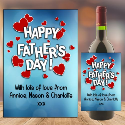 Personalised Happy Fathers Day Dad Wine / Champagne Bottle Label Gift for him N109